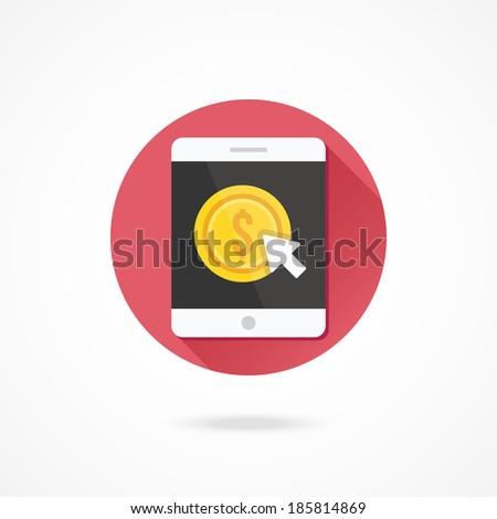Vector Tablet Pay per Click Icon - stock vector
