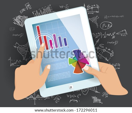Vector Tablet PC on with graphs and diagram - stock vector