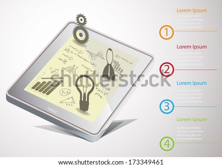 Vector Tablet PC  with hand-drawn graphs and diagram - stock vector