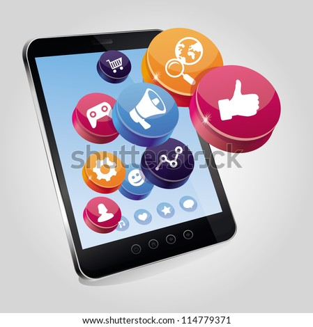 Vector tablet pc with social media concept on touchscreen - illustration with icons - stock vector