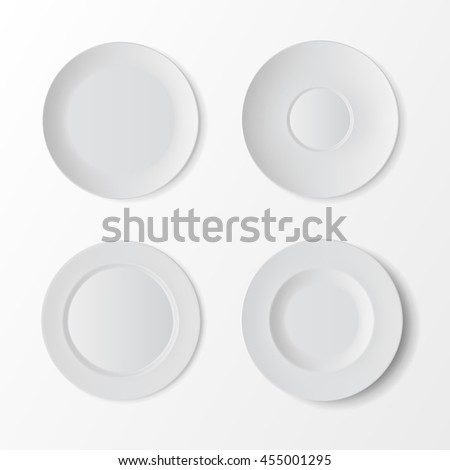 Vector Tableware Set of White Empty Plates Top View Isolated on White Background. Table Setting - stock vector