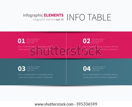 vector tabular graphic for business summary, report / infographic table options 4 - stock vector