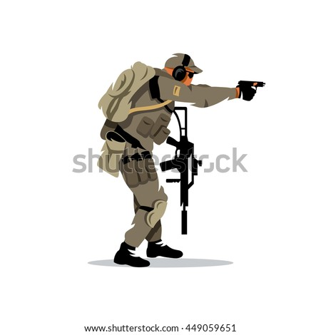 Vector Tactical shooting warrior Cartoon Illustration. The shooter is moving with a gun. Unusual Logo template isolated on a white background - stock vector