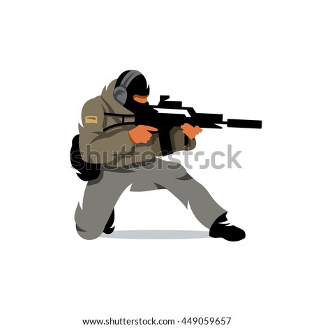 Vector Tactical Shooting Warrior Cartoon Illustration ... Soldier With Gun Cartoon