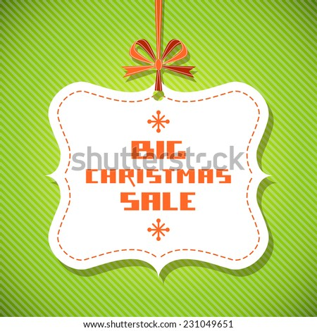 Vector tag - Christmas sale. Vintage background with ribbon and bow. Decorative illustration for print, web - stock vector
