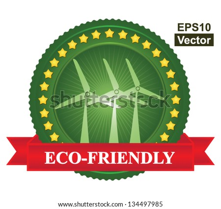 Vector : Tag or Badge For Eco-Friendly or Save Energy Sign Present By Green Wind Turbine Icon and Yellow Star Around With Red Eco-Friendly Ribbon Isolated on White Background - stock vector