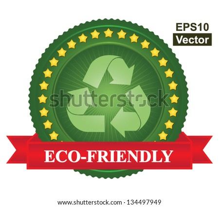 Vector : Tag or Badge For Eco-Friendly Sign Present By Green Recycle Sign Icon and Yellow Star Around With Red Eco-Friendly Ribbon Isolated on White Background - stock vector