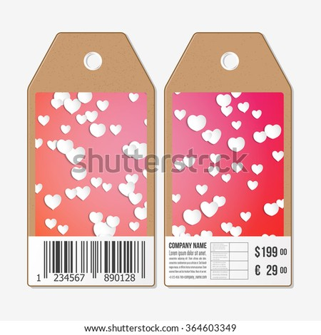Vector tags design on both sides, cardboard sale labels with barcode. White paper hearts, red vector background, Valentines day decoration. - stock vector