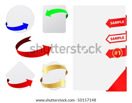 vector tags with arrows - stock vector