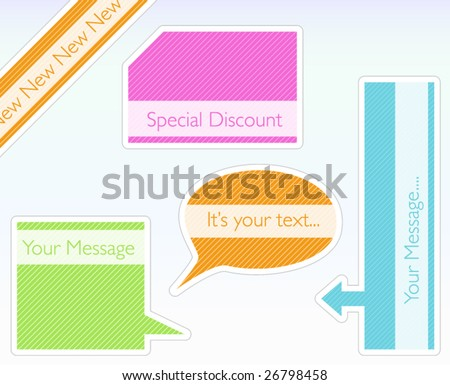 Vector tags with modern and colorful stripe pattern - stock vector