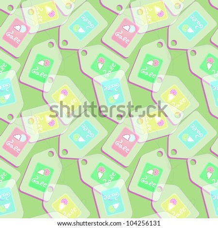 Vector Tags with spring discounts on green background