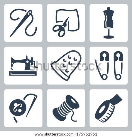 Vector tailor and sewing icons set - stock vector