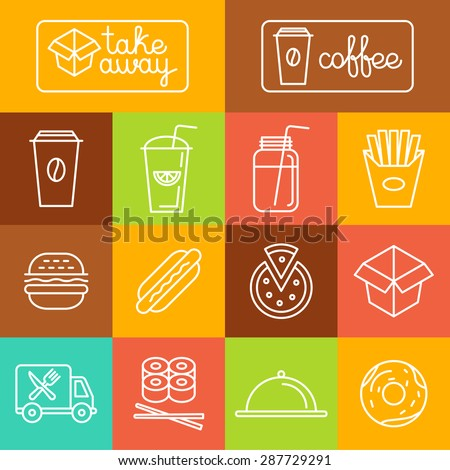 Vector take away food and coffee to go icons and labels in trendy linear style - fast food and cafe concepts  - stock vector