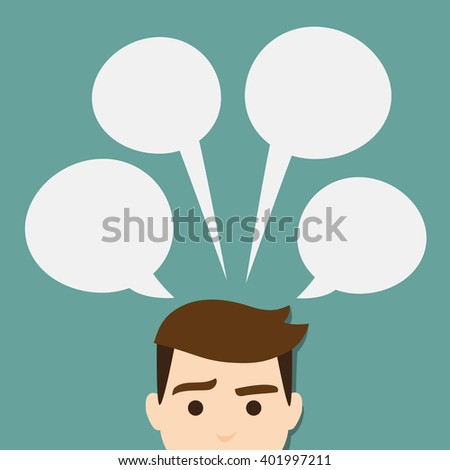 vector talking head with speech bubble. Info-graphic - stock vector