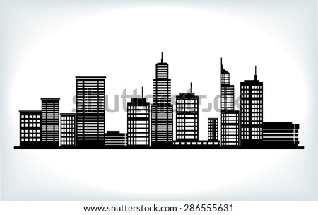 vector tall building silhouette background - stock vector