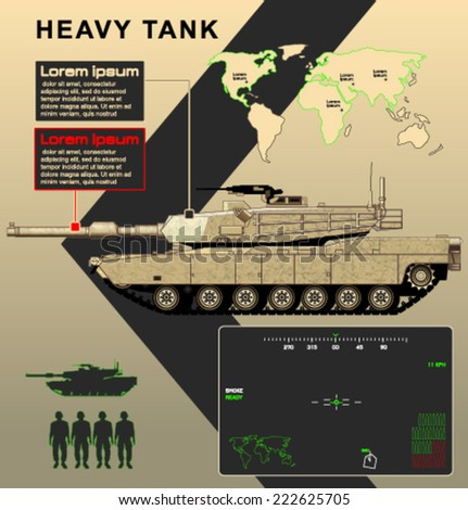 Vector tank infographics Abrams - stock vector