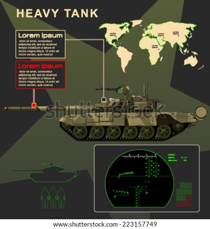 Vector_tank_infographics_T90 - stock vector