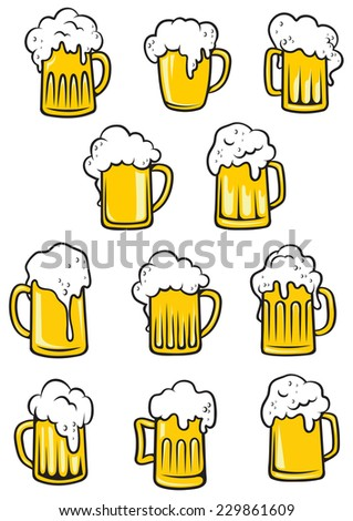 Vector tankards of beer with frothy heads overflowing the glass in different shapes, vector illustration on white - stock vector