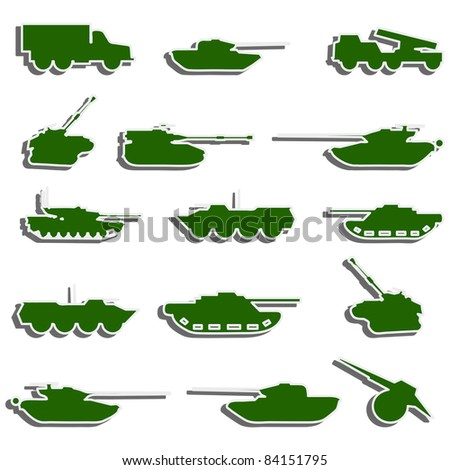 Vector Tanks, artillery and vehicles from second world war  stickers. Rasterized version also available in gallery - stock vector
