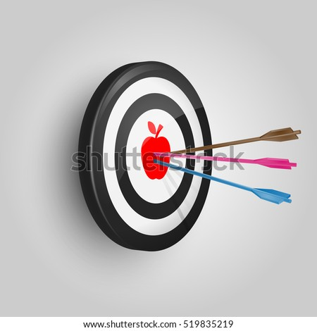 Vector Target and Arrow. Arrow hitting target. Business concept. Hit the bull's-eye