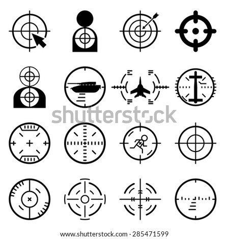Vector target icons set. Arrow and center, aim and game, success goal, dartboard and strategy - stock vector