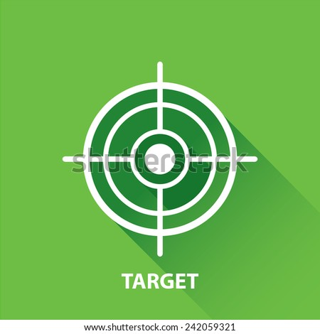 vector target icons . vector flat white target on green background. design element for web and logo design - stock vector