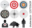 Vector Targets Set. Illustration of Paper Target, Archery Target, Darts board, Range Target, Human and Wild Boar Dummy - stock photo