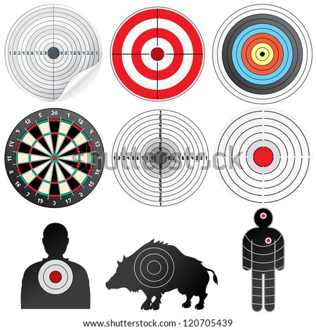Vector Targets Set. Illustration of Paper Target, Archery Target, Darts board, Range Target, Human and Wild Boar Dummy - stock vector