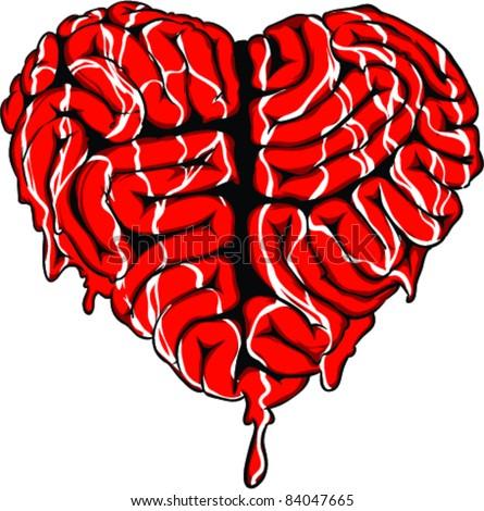 Vector Tattoo Brain Heart - stock vector
