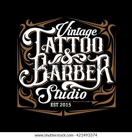 vector tattoo studio barber shop logo stock vector 421493374 shutterstock. Black Bedroom Furniture Sets. Home Design Ideas