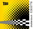 Vector taxi cab background with checkers flag. - stock vector