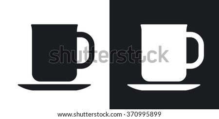 Vector tea cup icon. Two-tone version on black and white background - stock vector