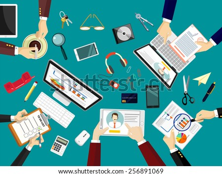 Vector team work place illustration - stock vector
