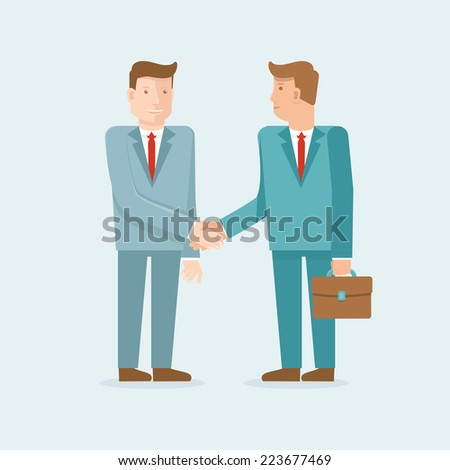 Vector teamwork and cooperation concept in flat style - male partners shaking hands - agreement and business icon - stock vector