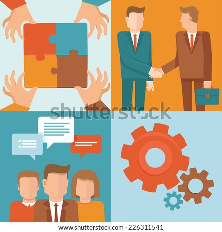 Vector teamwork and cooperation concepts in flat style - business and partnership infographic design elements  - stock vector