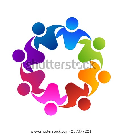 Vector teamwork concept of community,workers,unity,social networking icon image logo template.Teamwork internet people. Family concept icon. Friendship partnership meeting group. - stock vector