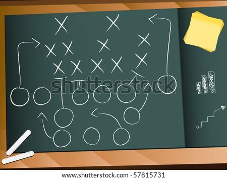 Vector - Teamwork Football Game Plan Strategy - stock vector