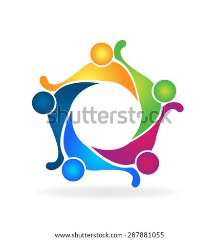 Vector teamwork logo concept of friendship ,community,workers,unity,people,social media networking icon image template - stock vector