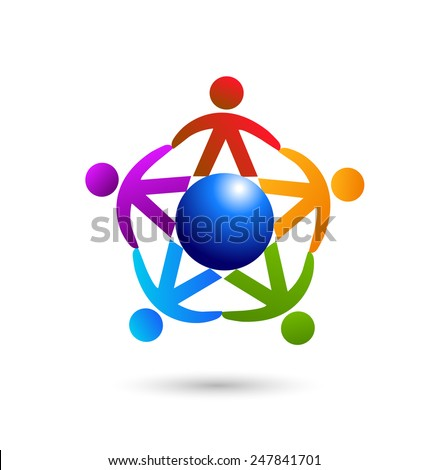 Vector teamwork people world trade concept ,community,workers,children,partners ,social ,education, icon image logo template - stock vector