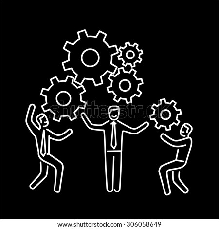 Vector teamwork skills icon of businessmans with gears bulding engine together | modern flat design soft skills linear illustration and infographic white on black background - stock vector