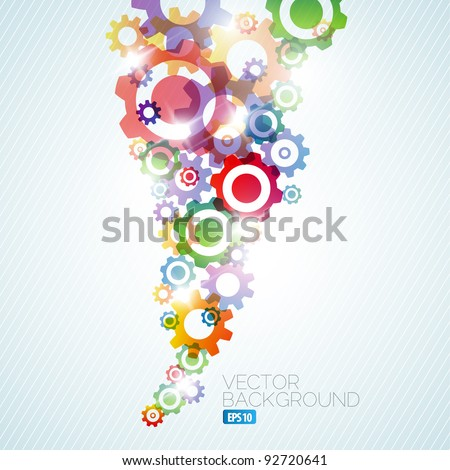 Vector technical background made from rainbow cogwheels - stock vector