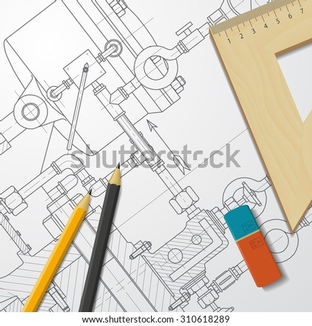 Vector technical blueprint of heavy machinery. Engineer illustration