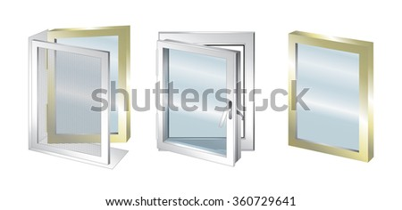 Vector technical illustration with element of window - glass - stock vector