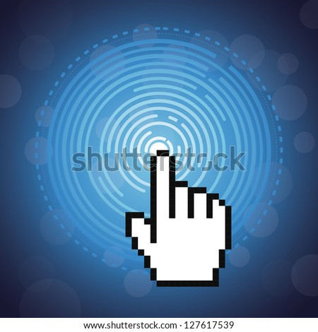 Vector technology concept and pixel cursor - abstract illustration - stock vector