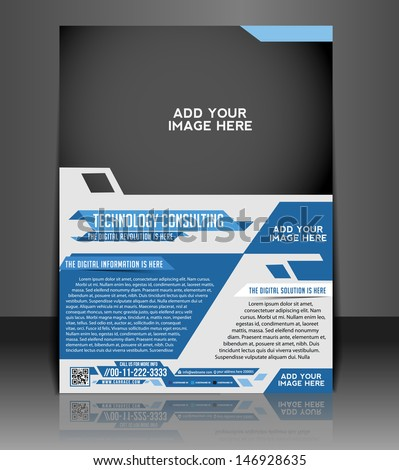 Vector Technology Consulting, flyer, brochure, magazine cover & poster template - stock vector