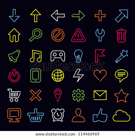 Vector technology icons and signs in modern neon style - stock vector