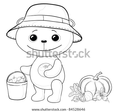 Vector, teddy bear gardener with a crop of vegetables, contours - stock vector