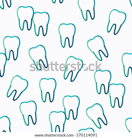 Vector teeth seamless pattern. Transparent overlapping linear background in green, blue, turquoise colors - stock vector