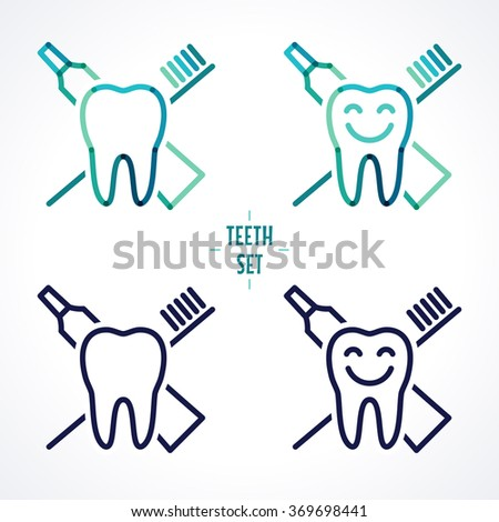 Vector teeth with toothbrush and toothpaste. Oral hygiene and teeth care labels set. Green, blue, turquoise transparent overlapping linear vector illustration. Symbol, sign, icon, logo - stock vector