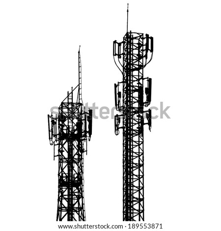 vector telecommunications tower with different antenna isolated on white  - stock vector